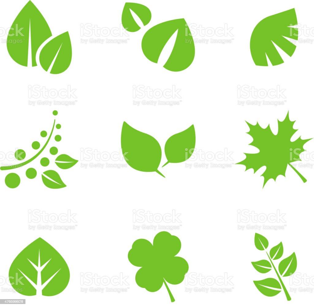Set of Green Leaves Design Elements vector art illustration