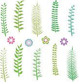 Set of green leaves , vector icon set
