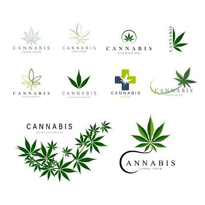 set of green medical cannabis emblem, logo . classic vintage style