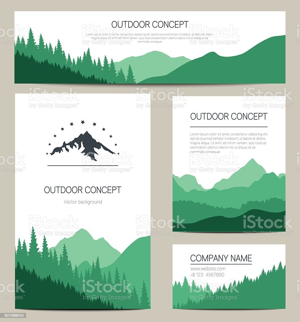 Set of green mountains and forest backgrounds vector art illustration