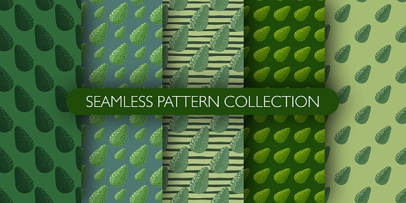 Set of green palette tones seamless vegetarian pattern with avocados. Food backdrop collection.