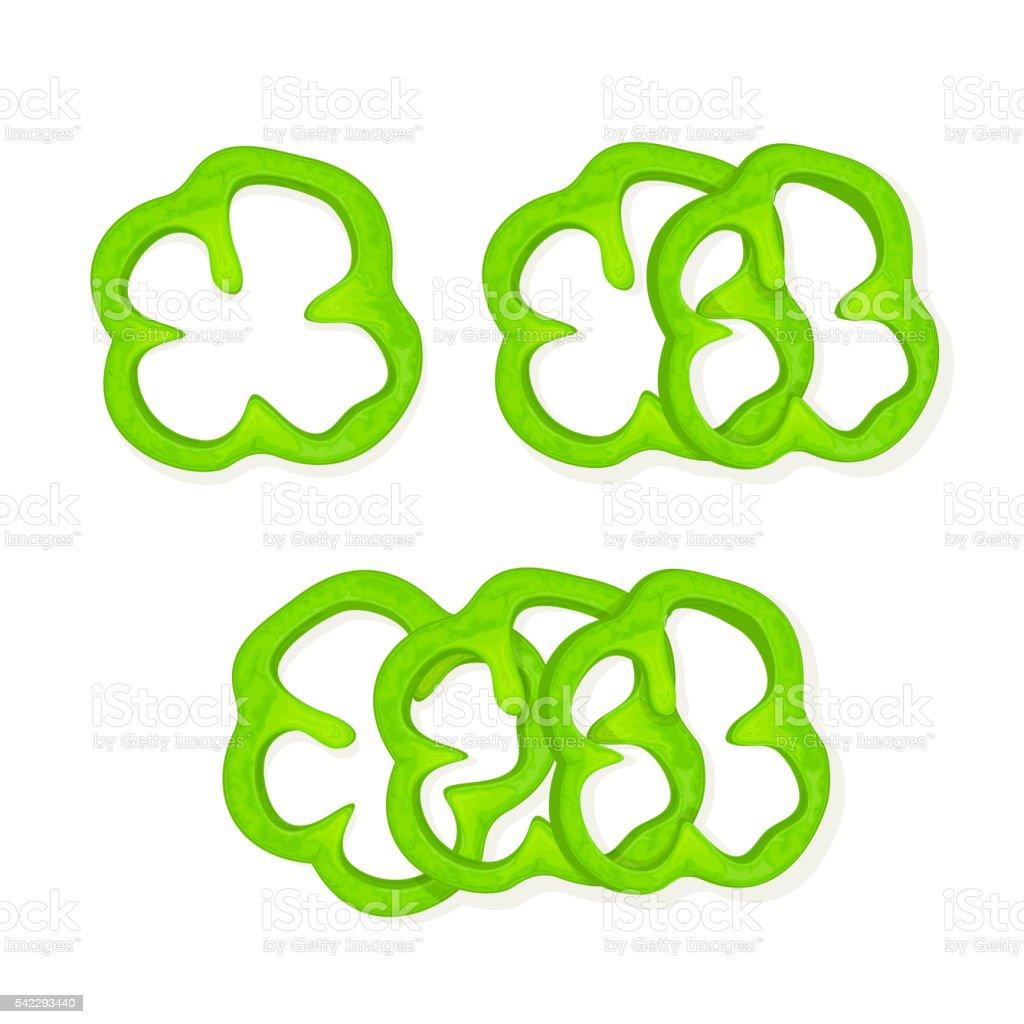 Set of green peppers vector art illustration