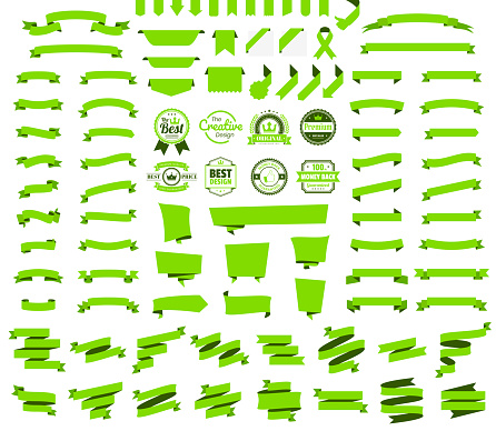 Set of Green Ribbons, Banners, badges, Labels - Design Elements on white background