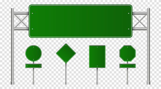 Set of green road signs. Blank traffic signs, highway boards, signpost and signboard. Realistic traffic signs isolated on transparent background