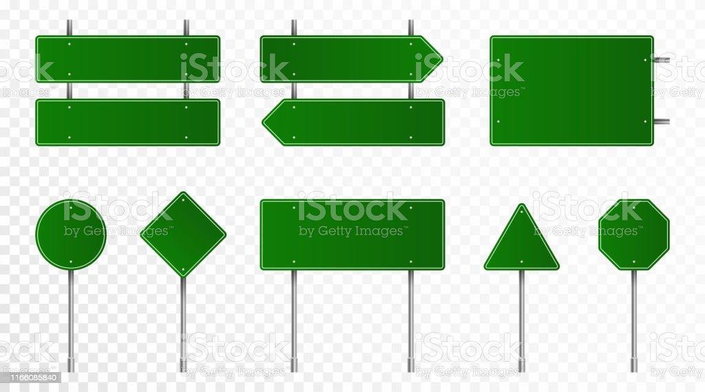 Uppsättning av gröna vägmärken. Tomma trafikskyltar, motorvägs brädor, skyltar och skylt. Realistiska trafikskyltar isolerade på transparent bakgrund - Royaltyfri Affischtavla vektorgrafik