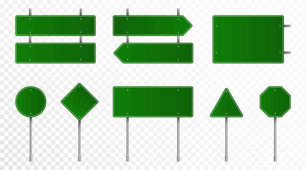 Set of green road signs. Blank traffic signs, highway boards, signpost and signboard. Realistic traffic signs isolated on transparent background vector art illustration