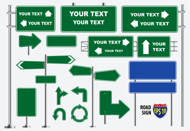 set of green road signs isolated, for brochure, flyer, cover book and other printing design. - transparent stock illustrations