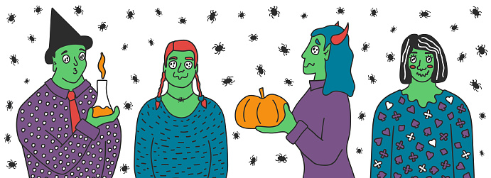 Set of Green skin magician people with pumpkins, flask with substance. Vector illustration of zombies in costumes with strange eyes