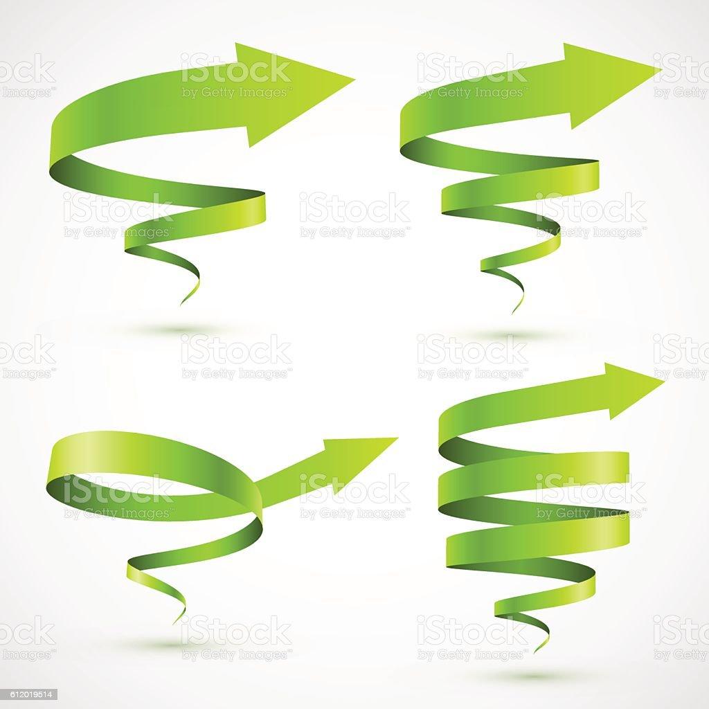 Set of green spiral arrows vector art illustration