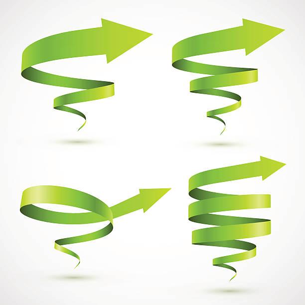 set of green spiral arrows - spiral stock illustrations, clip art, cartoons, & icons