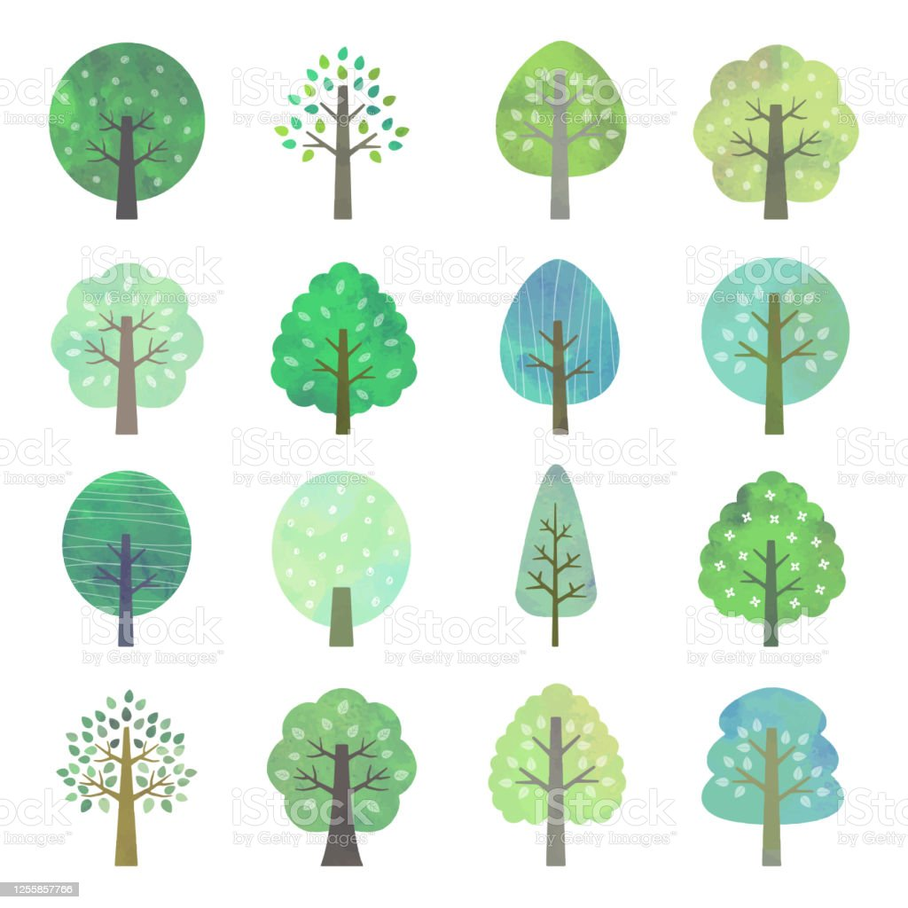 Set of green trees, watercolor style The file is vector eps 10 illustration. Beauty In Nature stock vector