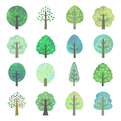 Set Of Green Trees Watercolor Style Stock Illustration - Download Image Now