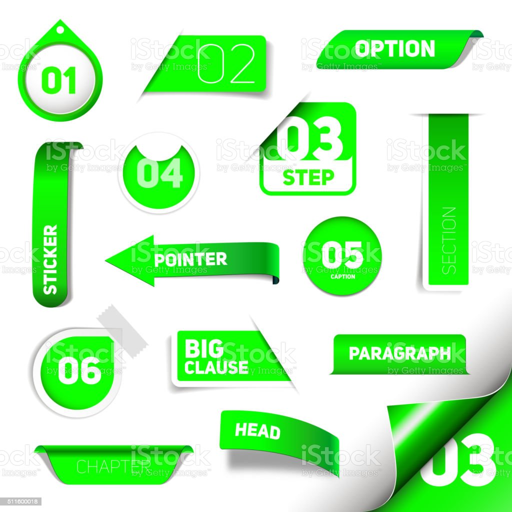 Set of green vector progress step icons vector art illustration