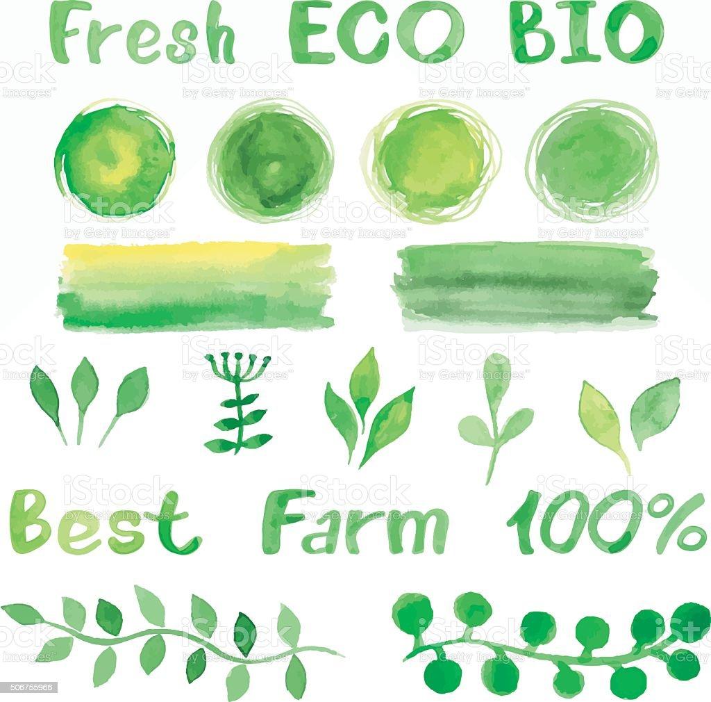 Ensemble de vert Bio Bio aquarelle, des arrière-plans, police, SYSTEME DE CONTROLE DE LA - Illustration vectorielle
