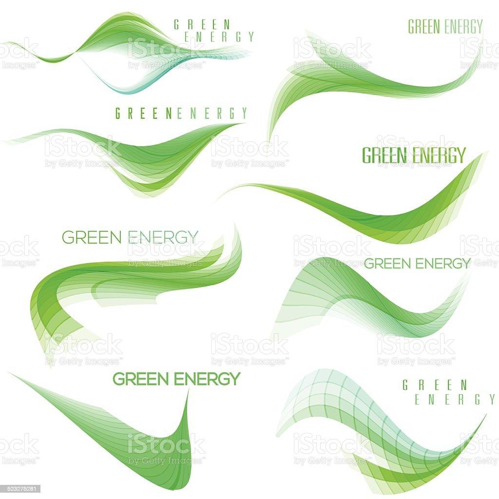 Set of green wavy design elements vector art illustration