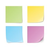 Set of green, yellow, blue, violet sticky notes