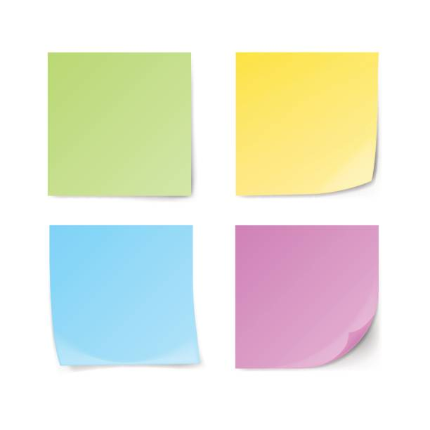 set of green, yellow, blue, violet sticky notes - post it notes stock illustrations