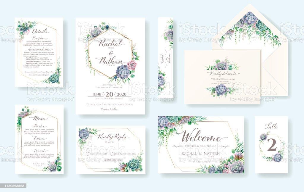 Set Of Greenery Wedding Invitation Card Invite Rsvp Details Thank