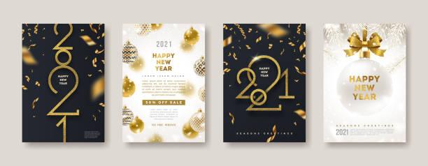 ilustrações, clipart, desenhos animados e ícones de conjunto de cartões de saudação com o logotipo dourado de ano novo 2021. sinal de ouro brilhante de ano novo, ilustração vetorial. design de férias para cartão de boas-vindas, convite, cobertura, calendário, etc. - new year