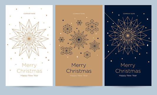 A set of greeting card with snowflakes and festive decor.