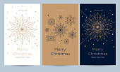 istock A set of greeting card with snowflakes and festive decor. 1159277304