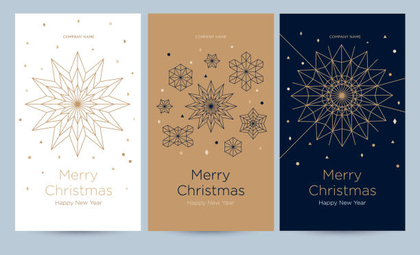 A set of greeting card with snowflakes and festive decor. Linear golden Christmas snowflake on a different background. New Year's design template with a window for text. Vector flat. Vertical format holidays stock illustrations