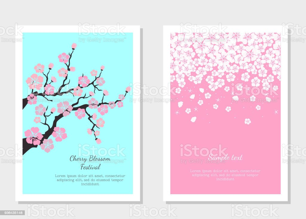Set of greeting cards and invitation card with cherry blossom stock set of greeting cards and invitation card with cherry blossom royalty free set of stopboris Images