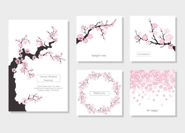 stockillustraties, clipart, cartoons en iconen met set wenskaarten en uitnodigingskaart met kersenbloesem. - bloesem
