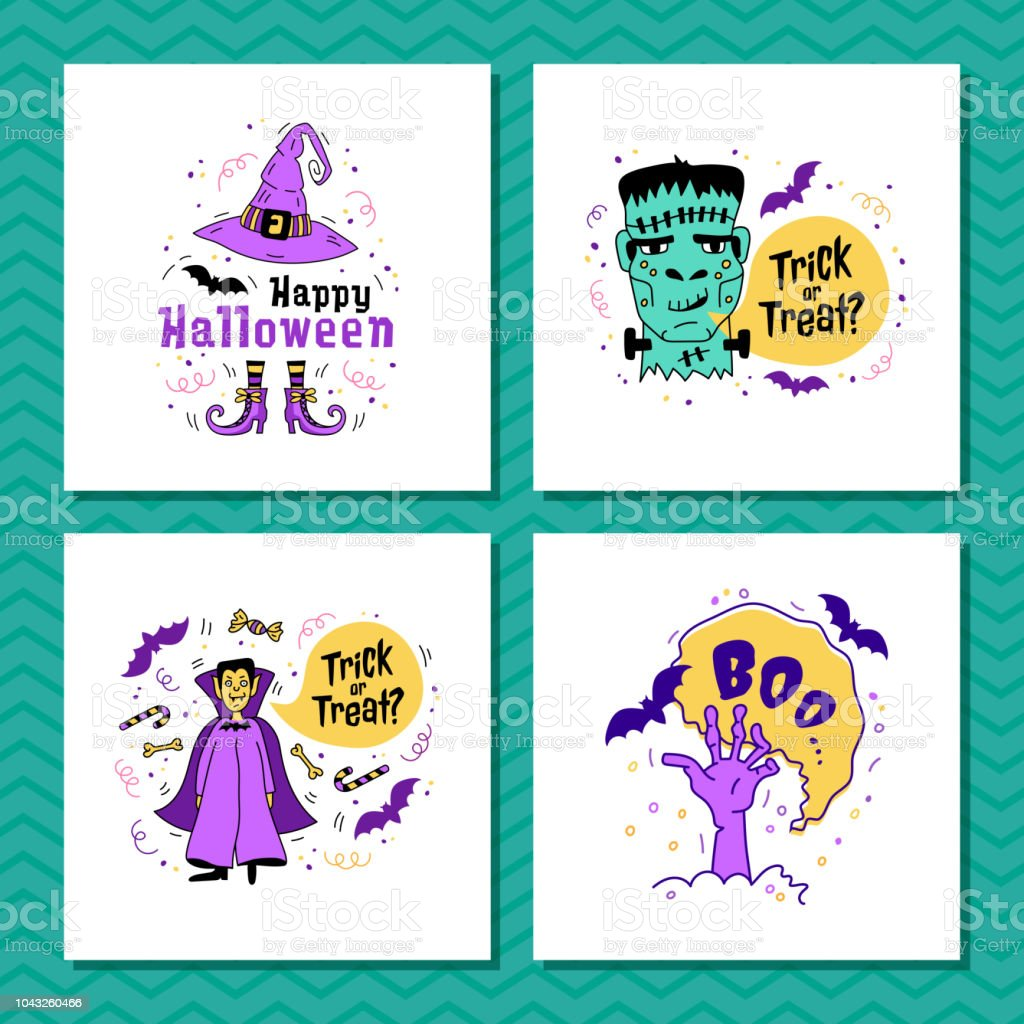 Set Of Greeting Cards For Halloween Trick Or Treat Inscription Happy