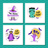 Set of greeting cards for Halloween. Trick or Treat inscription, Happy Halloween lettering. Halloween. doodle - Zombie, frankenstein, Dracula, Witch. Hand from the grave, bats. Vector