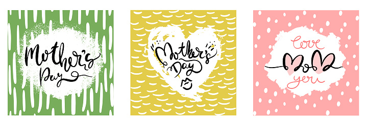 Set of greeting cards for mother's day. Creative vector illustration of mother's day card for social media posting, blog and your mother's direct mail.
