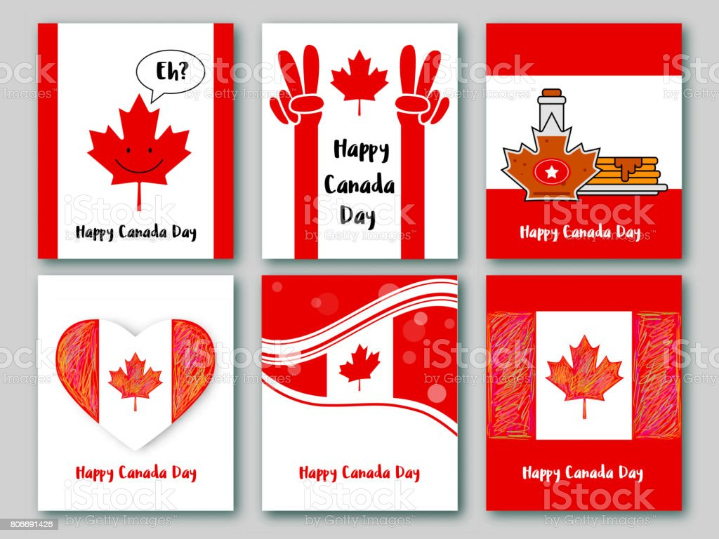 Set Of Greeting Cards In National Colors Of The Canada Vector Card