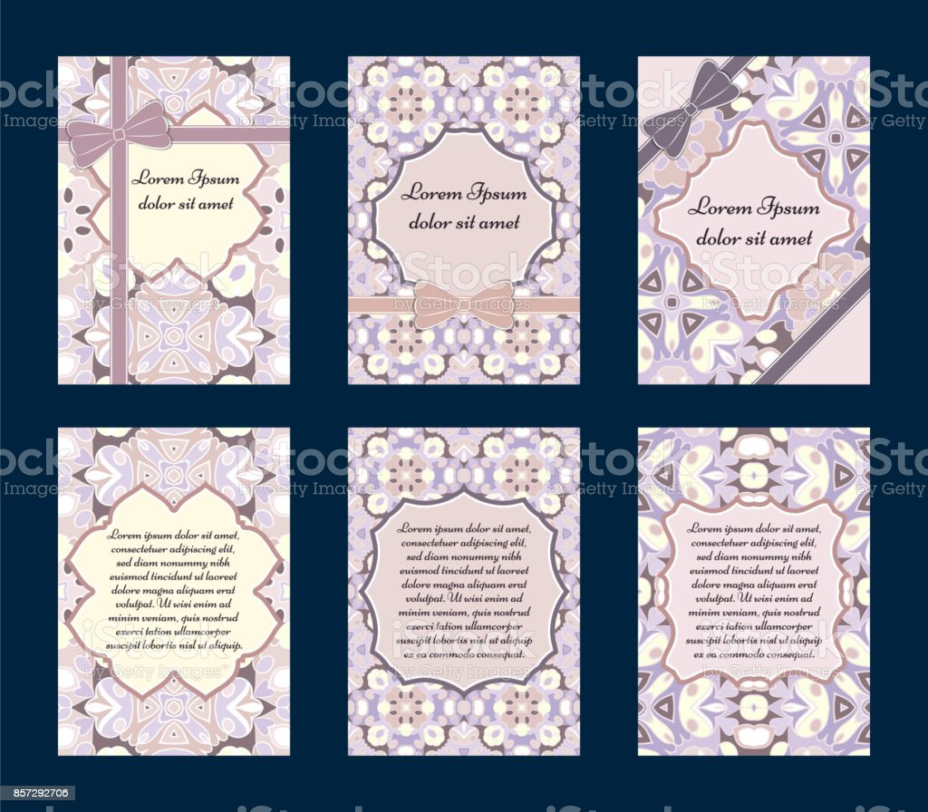 Set of greeting cards vector art illustration
