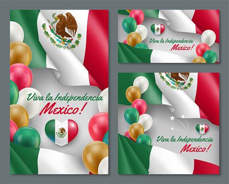Set of greeting cards Viva La Independencia Mexico