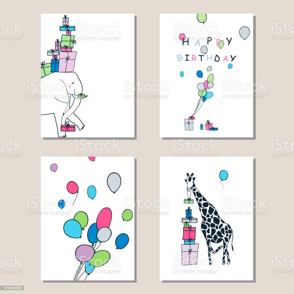 一套賀卡與長頸鹿, 大象, 禮物和氣球。向量藝術插圖