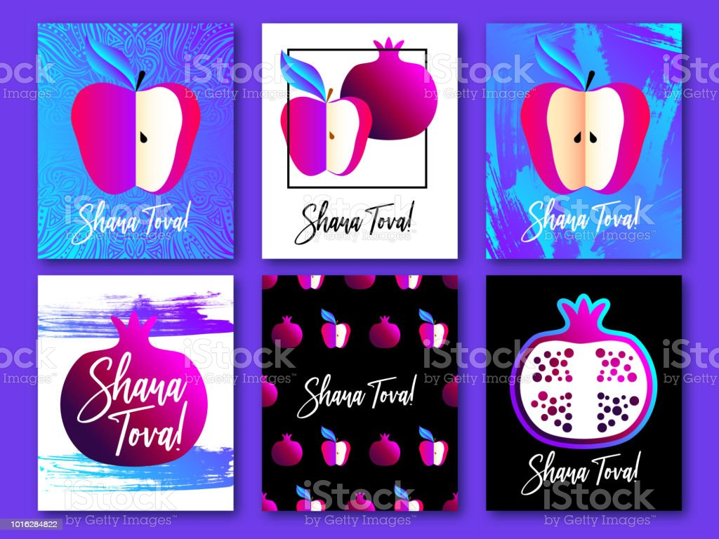 Set of greeting cards with symbol of rosh hashanah jewish new year set of greeting cards with symbol of rosh hashanah pomegranate apple honey m4hsunfo