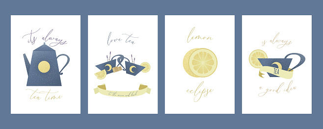 Set of greeting cards with teapot, cup, lemons, sugar, lavender and ribbon.