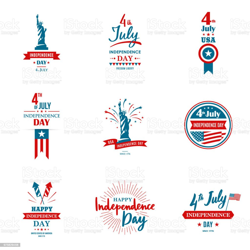 Set of greeting illustration for United States Independence day. Can be used as greeting card, banner, background. 4th of July. Vector typography. vector art illustration