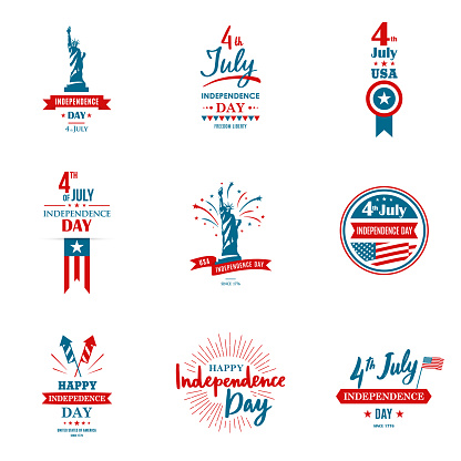 Set Of Greeting Illustration For United States Independence Day Can Be Used As Greeting Card Banner Background 4th Of July Vector Typography Stock Illustration - Download Image Now