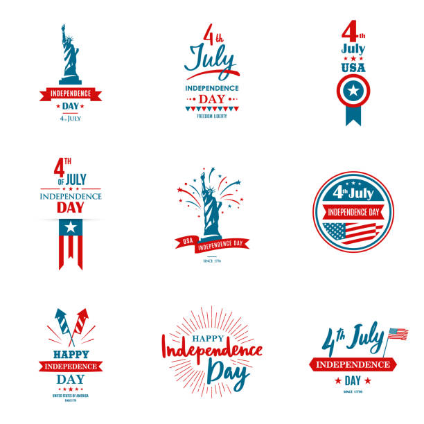 set of greeting illustration for united states independence day. can be used as greeting card, banner, background. 4th of july. vector typography. - july 4th stock illustrations