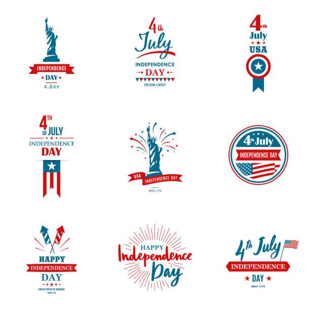 一套問候插圖為美國獨立日。可用作賀卡、橫幅、背景。7月4日。向量排版。 - happy 4th of july 幅插畫檔、美工圖案、卡通及圖標