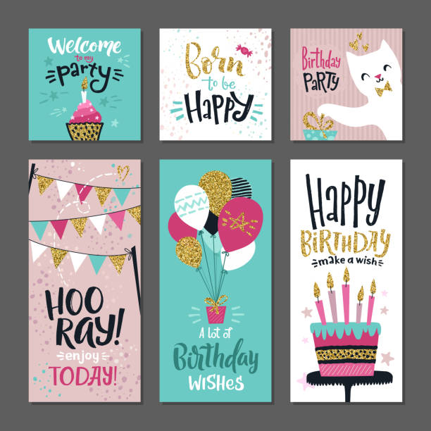 Set of greetings cards. Invitation for birthday party. Vector design template with hand writings words vector art illustration