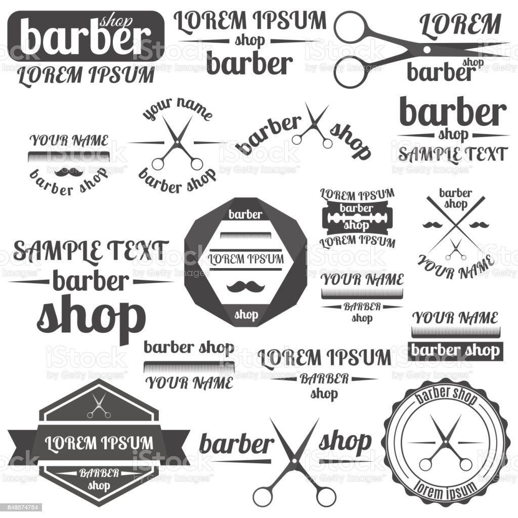 Set of grey emblem for barber shop, vector illustration. vector art illustration