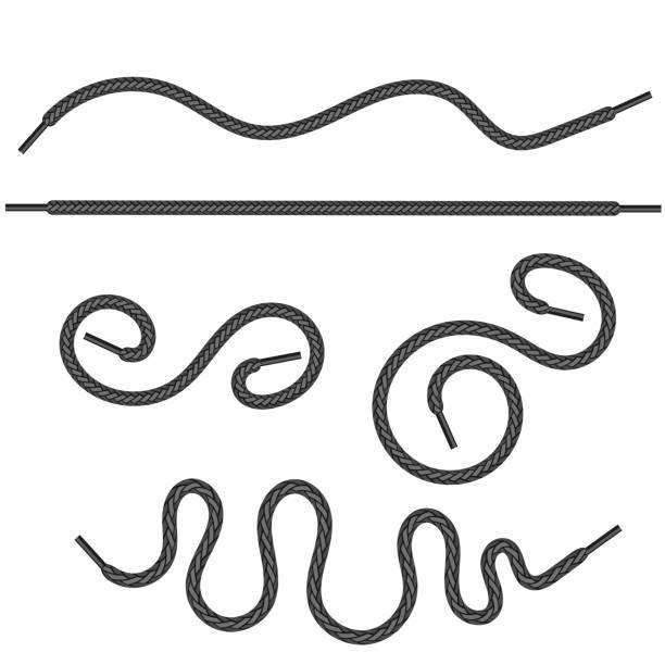 Set of grey shoelace vector art illustration