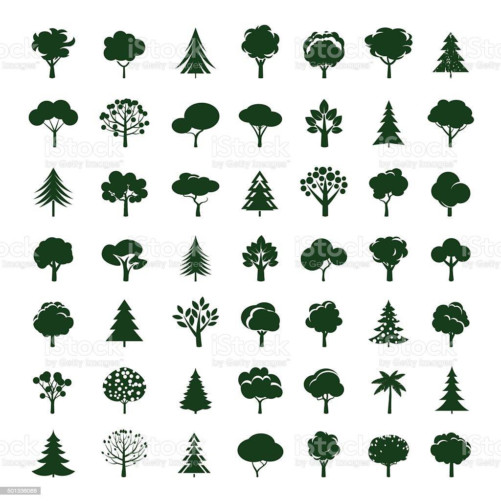 Ensemble de gris arbres. Vecteurs de symbole et icône. - Illustration vectorielle