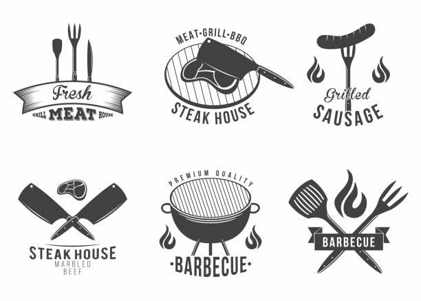 bbq. satz von grill und barbecue restaurant-icons, menü-element, label und abzeichen - roastbeef stock-grafiken, -clipart, -cartoons und -symbole