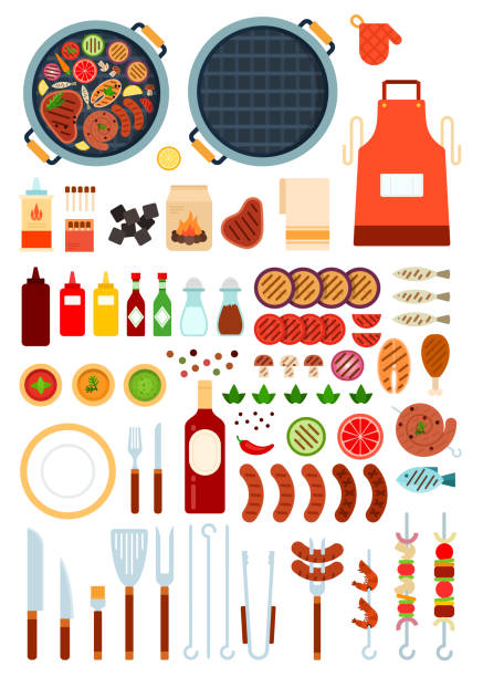 stockillustraties, clipart, cartoons en iconen met set van grill en rundvlees icons platte vector - meat pan