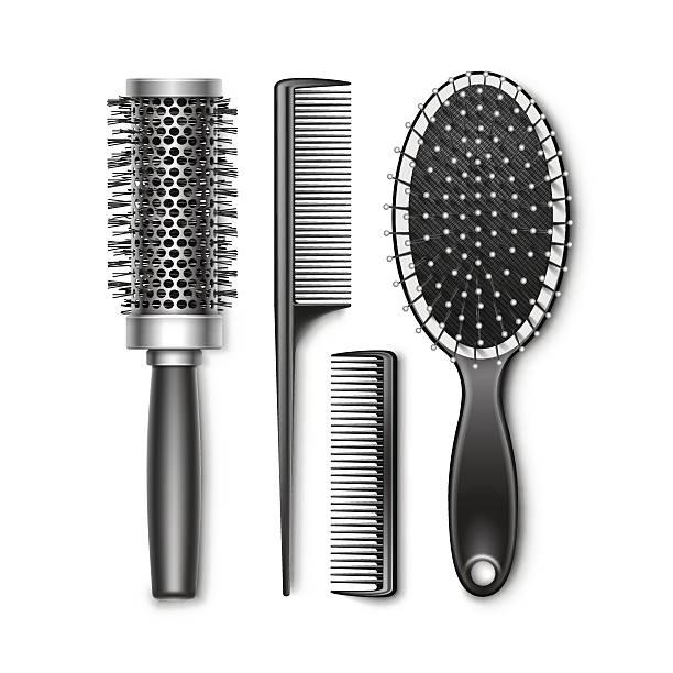 set of grooming and hot curling radial hair brush - kamm stock-grafiken, -clipart, -cartoons und -symbole