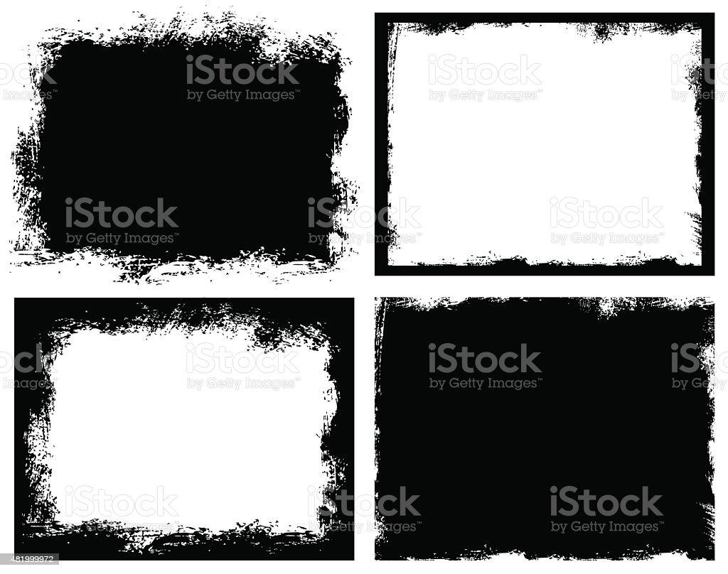 Set of grunge background. Broken dirty rough frames vector art illustration