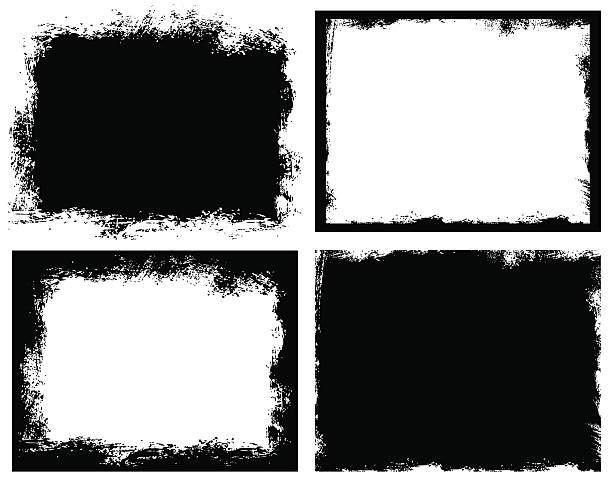 set of grunge background. broken dirty rough frames - grunge frames stock illustrations, clip art, cartoons, & icons